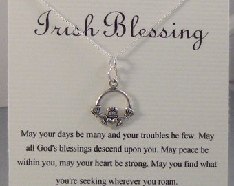 Irish Blessing,Irish Necklace,Claddaugh,Claddaugh Necklace,,Lucky Necklace,Necklace,Inspiration Necklace,Lucky,Shamrock,Claddaugh,Luck,Irish