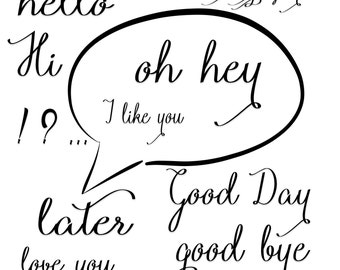 Words Clip art, speech clipart quote digital illustration, hello, goodbye  hi there words saying bubble black and white small commercial use