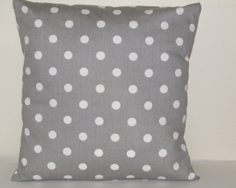 Decorative Pillow Cover, Gray With White Polka Dot Pillow Cover