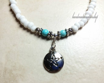 Anklet, Sand Dollar, Turquoise Riverstone, Silver Plated, White, Chain, Dangle, Ankle Jewelry