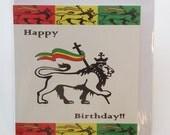Judah lion Birthday card in Jamaican Patwa