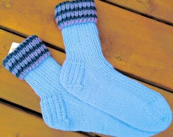 Adult size 9-10,  Hand Knitted Socks, Warm Winter Socks
