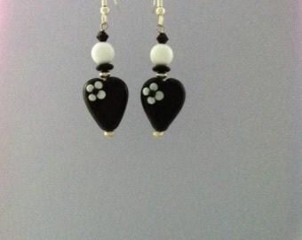 Black Glass heart bead with flower Earrings