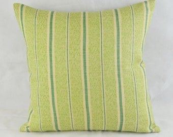 Caterpillar Stripe Cushion Cover by Sheila Coombes 41cm x 41cm Lime , Jade, Beige Stripes