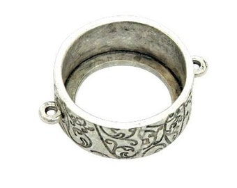 Large 24mm Open Circle Bezel Pendant, Antique Silver Plated, Made in the USA, #N126