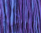 Hand dyed PENCIL ROVING FIBER. Ideal for Spinning, Felting, Weaving, Dreads. Pin drafted Pure Wool Combed Top, Violets by Living Dreams 4oz