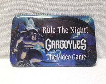 """Vintage Gargoyles Cartoon Animated Show """"Rule the Night"""" Video Game Release Pin 1990s"""