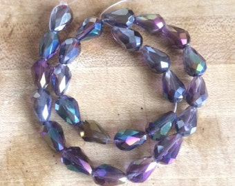 25 Purple AB Faceted Chinese Glass Teardrop Beads