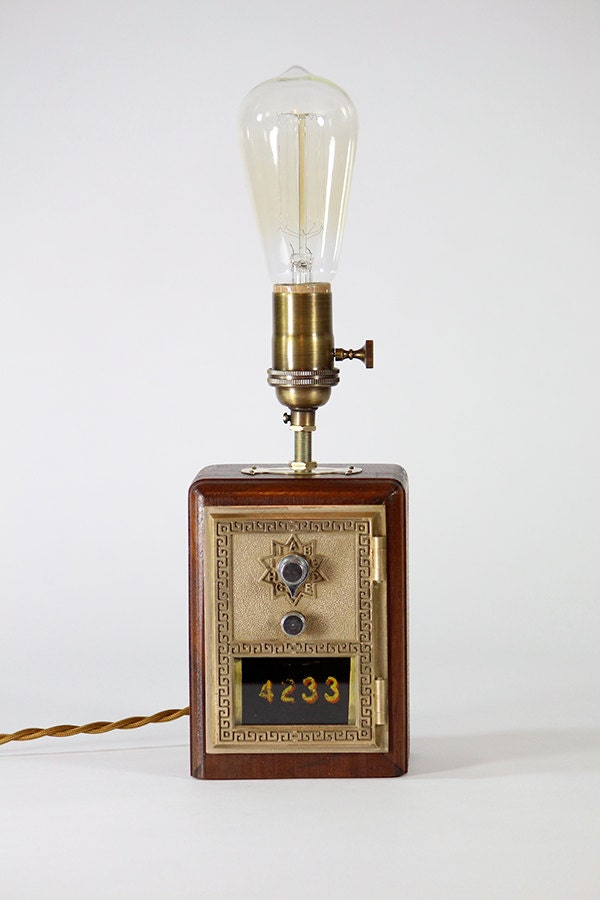 Vintage Post Office Box Bank Lamp Perfect For Library Home
