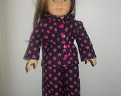 New Black with Pink Stars PJ for American Girl Doll Pajama Clothing 18 in Doll Boy