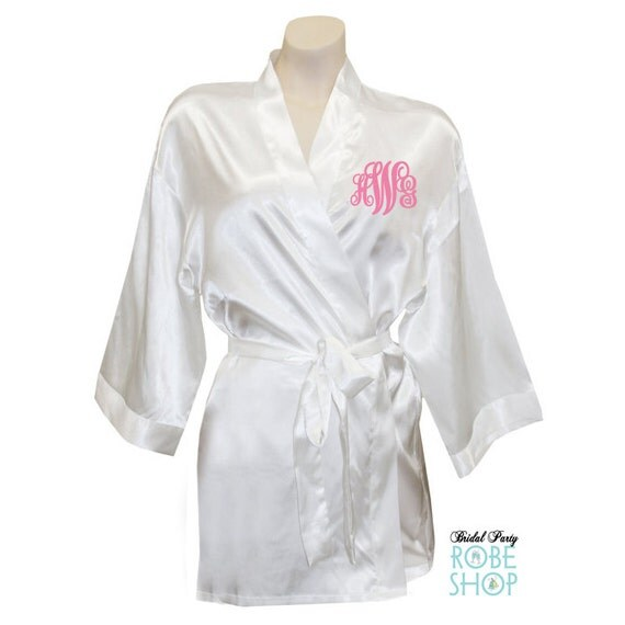 Personalized Satin Bridal Party Robe With Script Monogram