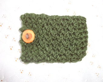 SALE- Crochet Phone Case -Phone Sleeve -Phone Cozy -Crochet Cozy- Crochet Phone Cover -Crochet Sleeve -Crochet Accessory -Green Phone Cover