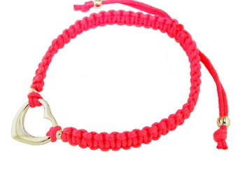 19698 Sterling Silver Heart Charm on Pink (or Blue) Nylon Macrame Bracelet