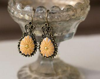 Shimmery Sunflower. Handmade Polymer Clay Earrings