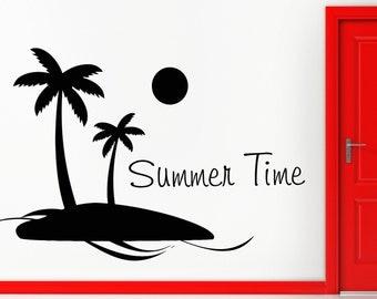 Wall Stickers Vinyl Decal Summer Time Island Palms Ocean Beach (z1904)