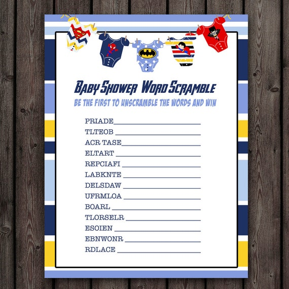 superhero baby shower word scramble game, printable file, instant ...
