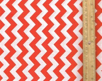 Orange Chevron Fabric, Small Chevron, Fabric by the Yard, Craft Fabric, Quilt Fabric