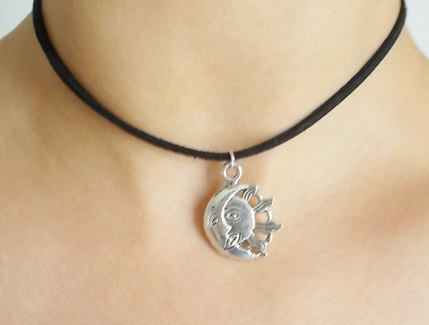 silver sun and moon choker black suede choker by ...