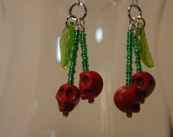 Handmade Cherry Skull Beaded Earrings