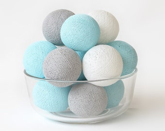 20 Loose Cotton Balls NOT INCLUDE Light String, Patio Party, Outdoor, Fairy, Wedding - Pastel Blue Grey White