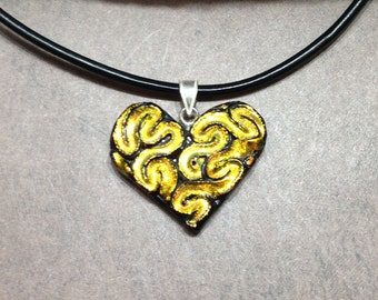 Heart Dichroic Glass Pendant With Genuine Leather Cord Necklace.  GN-40