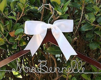 TODAY'S SPECIAL SALE Fast Shipping Personalized Wood Hanger for Bride and Wedding Party With Bow