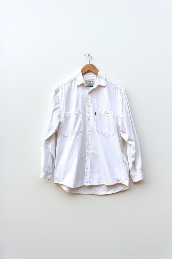 Levis White Denim Shirt Vintage Levis White Denim