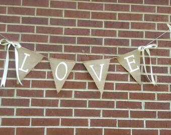 Hand Painted Burlap Love Banner. Wedding banner. Photography Prop. Burlap Banner. Burlap Wedding. Rustic Wedding