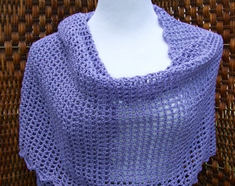 Purple lacey shawl, crochet open work wrap, open stitch lacey lavender wrap, formal prom wrap, ultra soft, oversize scarf
