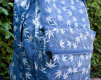 HARDBODY TV Denim Weed Leaf stoner backpack