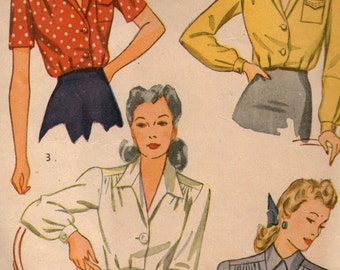 Vintage 40's Blouse Sewing Pattern Simplicity 4139 Size 12 Bust 30 Unprinted