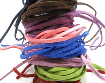 Suede Cord, 2.5mm Suede cord, Lace, String, Flat cord,Pink,Blue Sea,Purple,Green - 5meter/ 500cm