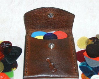 "Guitar Pick Case, Leather, handmade,tooled and stitched. 2 3/4"" x 2 3/4"" Brown"