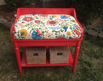 SOLD*********Red Entry Bench with Storage