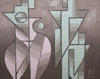 1989 Avant garde cubist constructivist portrait Oil Painting, Signed
