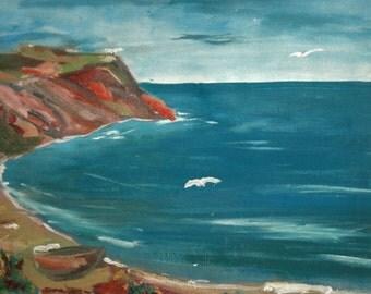 Landscape Oil Painting Seascape, Signed