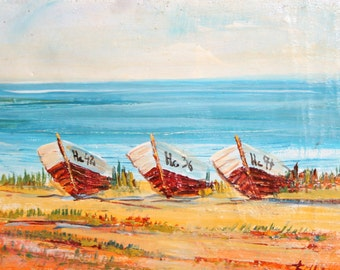 Vintage oil painting seascape landscape boats signed