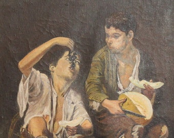 Bartolome Murillo, Beggar Boys Eating Grapes and Melon, Vintage Oil Painting Reproduction Signed