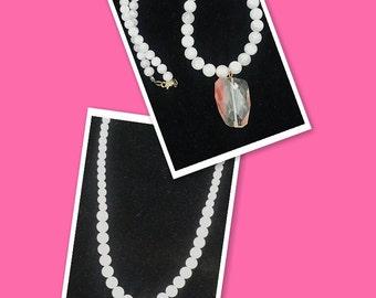 Rose Quartz & Cherry Glass Pendant Necklace