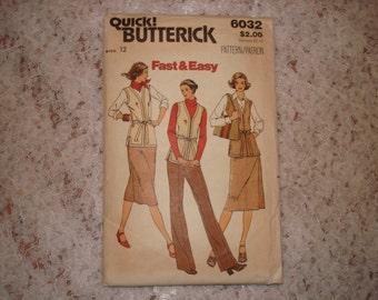 Butterick Quick Pattern 6032 Misses' Vest, Skirt and Pants Size 12 Uncut