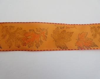 "Orange Ribbon Leaf Ribbon Fall Wired Ribbon 1 1/2"" inch wide  Autumn Wreath Floral Arrangement Center Piece Home Decor Gift Wrap Bows  LF008"