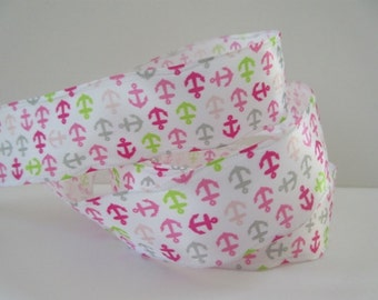 """Pink and White Anchor Wired Ribbon 1 1/2"""" inch wide Party Wrap Wreath Center Piece Gift Basket Scrapbook Nursery Decor Card Making LB020"""
