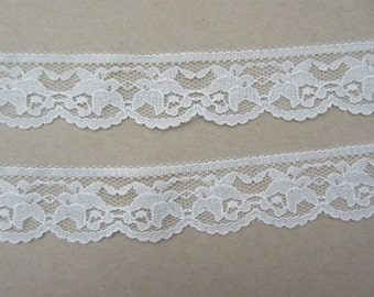 "Ivory Lace Trim Ribbon 1 1/4"" inch wide Floral Lace Flower Sewing Trim Scrapbook Card Decoration Wedding Lace Bridal Gift Wrap Basket WL059"