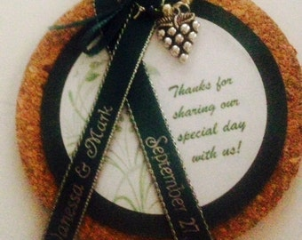 Cork Coaster with Wine Charm Wedding/Shower Favors