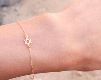 Gold bracelet, star of david gold bracelet, star of david bracelet, sideways star of david, gold magen david bracelet, thin minimal bracelet