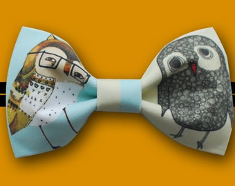 Owl Bowtie - Modern Boys Bowtie, Toddler Bowtie Toddler Bow tie,Pre Tied and Adjustable