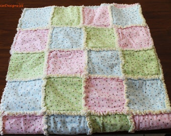 Handmade Flannel Rag Quilt 48L x 33W