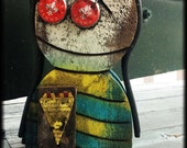"""Pinehead Statue: """"Maggie Magazine,"""" salvaged wood folk art sculpture, abstract figure with found objects."""