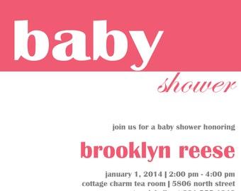 Brooklyn baby shower invitation (PRINTABLE)