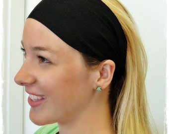 Fitness Headband- Black Solid- The best workout headband ever, moisture wicking - great for yoga, running or pilates #26215